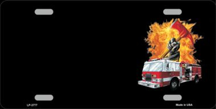 Fire Engine Flames Flaming Ax Offset Wholesale Metal Novelty License Plate LP-3777