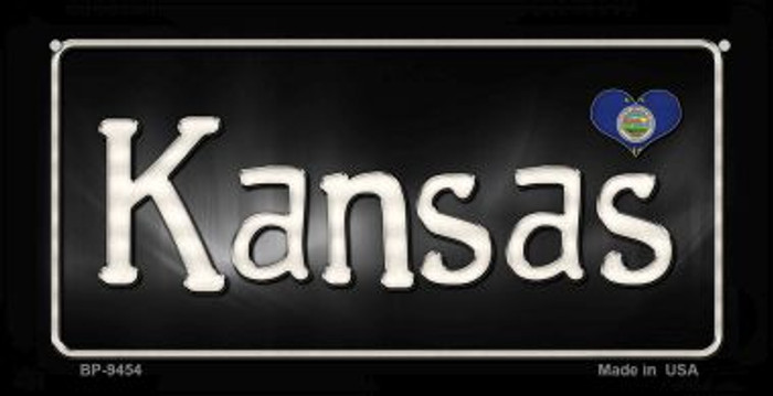 Kansas Flag Script  Wholesale Novelty Bicycle Plate BP-9454