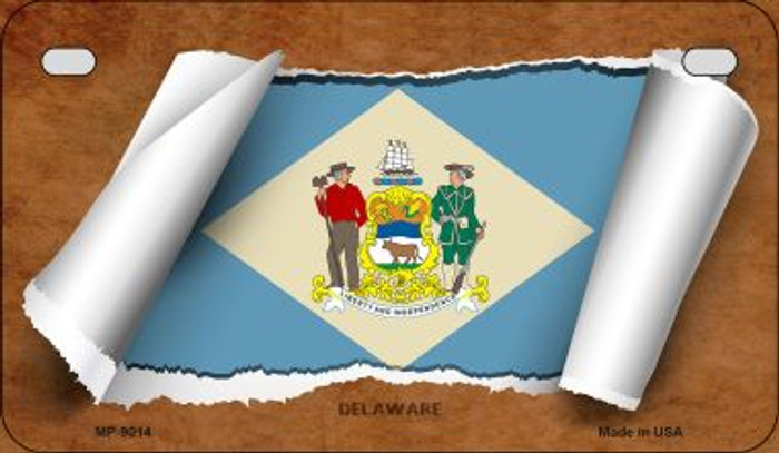 Delaware Flag Scroll Wholesale Novelty Motorcycle Plate MP-9014