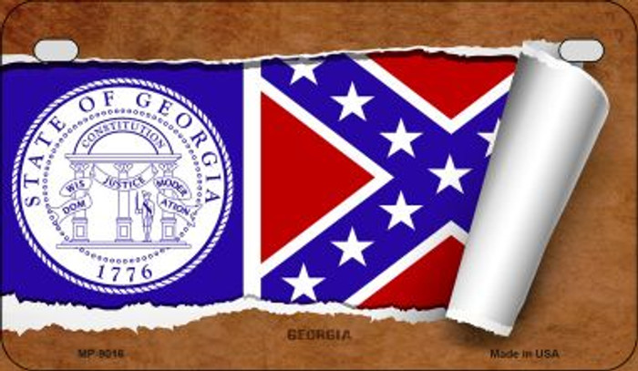 Georgia State Flag Scroll Wholesale Novelty Motorcycle Plate MP-9016