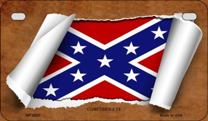 Confederate Flag Scroll Wholesale Novelty Motorcycle Plate MP-9057