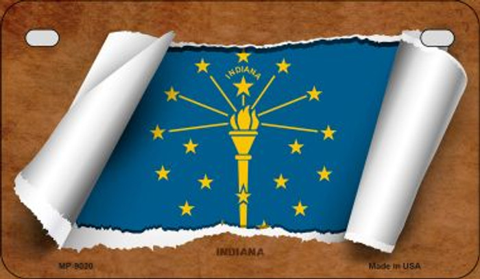 Indiana Flag Scroll Wholesale Novelty Motorcycle Plate MP-9020