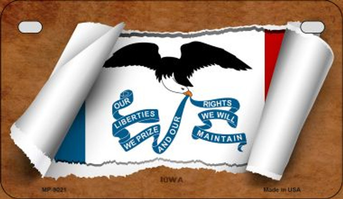 Iowa Flag Scroll Wholesale Novelty Motorcycle Plate MP-9021