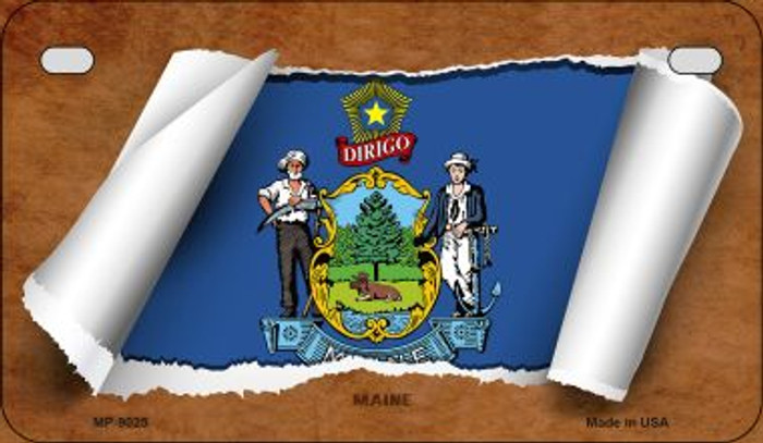 Maine Flag Scroll Wholesale Novelty Motorcycle Plate MP-9025