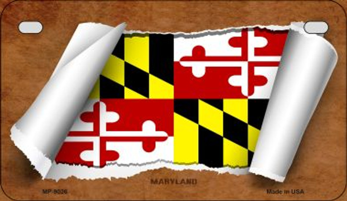 Maryland Flag Scroll Wholesale Novelty Motorcycle Plate MP-9026