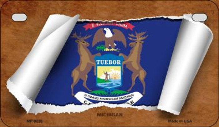 Michigan Flag Scroll Wholesale Novelty Motorcycle Plate MP-9028