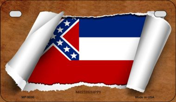 Mississippi Flag Scroll Wholesale Novelty Motorcycle Plate MP-9030