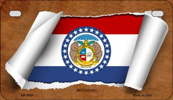 Missouri Flag Scroll Wholesale Novelty Motorcycle Plate MP-9031