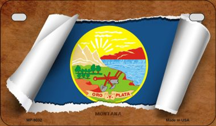 Montana Flag Scroll Wholesale Novelty Motorcycle Plate MP-9032