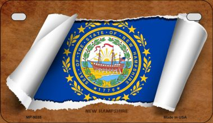 New Hampshire Flag Scroll Wholesale Novelty Motorcycle Plate MP-9035