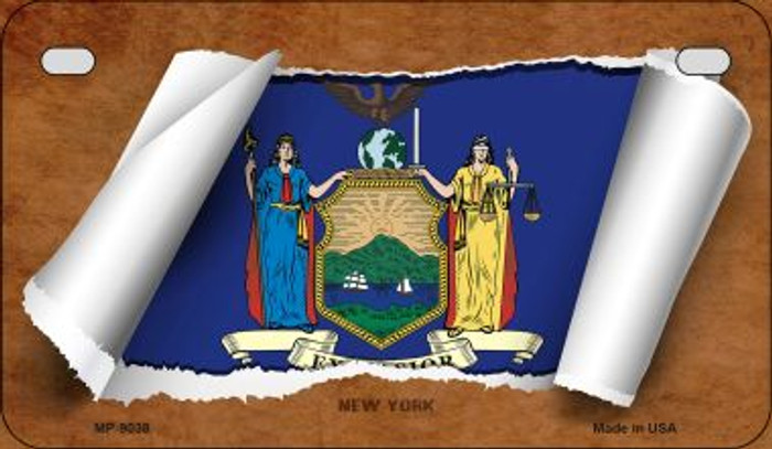 New York Flag Scroll Wholesale Novelty Motorcycle Plate MP-9038