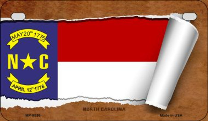 North Carolina Flag Scroll Wholesale Novelty Motorcycle Plate MP-9039