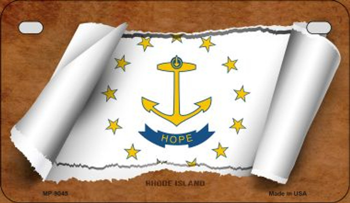 Rhode Island Flag Scroll Wholesale Novelty Motorcycle Plate MP-9045