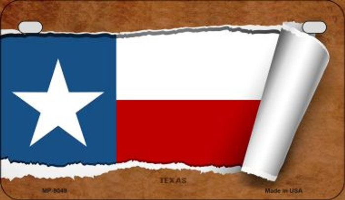 Texas Flag Scroll Wholesale Novelty Motorcycle Plate MP-9049