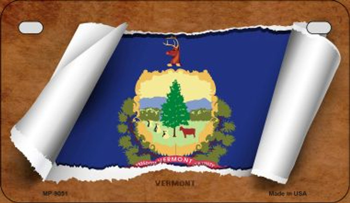 Vermont Flag Scroll Wholesale Novelty Motorcycle Plate MP-9051