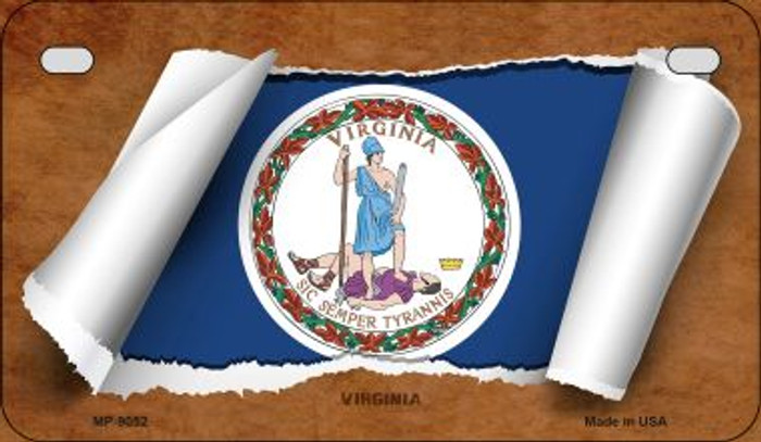 Virginia Flag Scroll Wholesale Novelty Motorcycle Plate MP-9052
