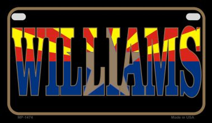 Williams Arizona With Flag Wholesale Novelty Motorcycle Plate MP-1474