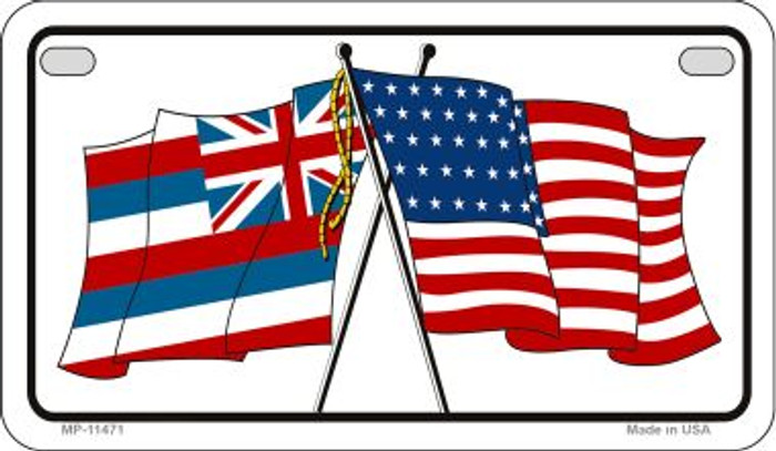 Hawaii / USA Flag Wholesale Novelty Motorcycle Plate MP-11471