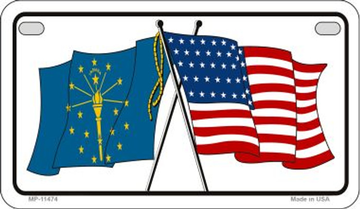 Indiana / USA Flag Wholesale Novelty Motorcycle Plate MP-11474