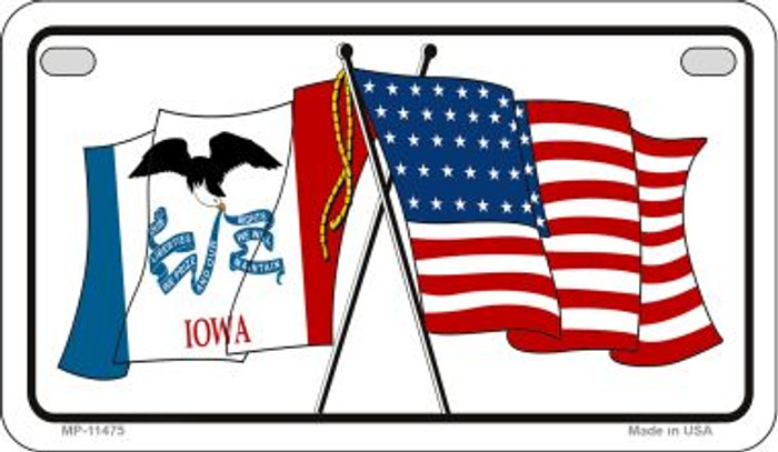 Iowa / USA Flag Wholesale Novelty Motorcycle Plate MP-11475