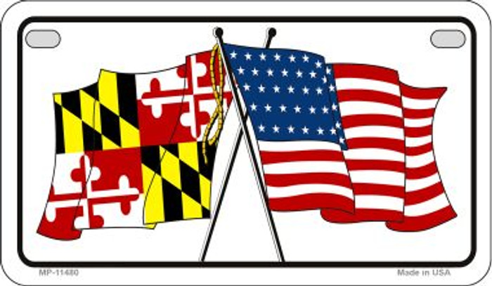 Maryland / USA Flag Wholesale Novelty Motorcycle Plate MP-11480