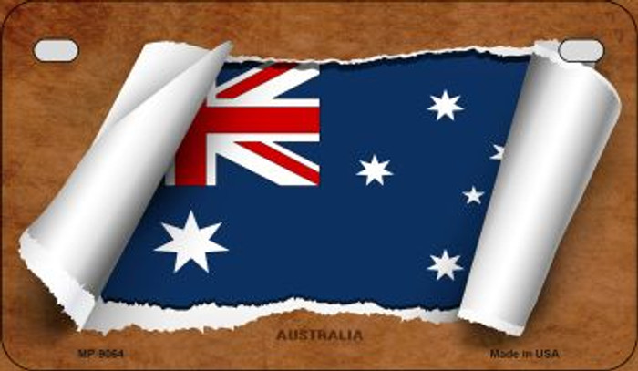 Australia Flag Scroll Wholesale Novelty Motorcycle Plate MP-9064