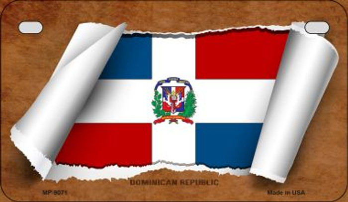 Dominican Republic Flag Scroll Wholesale Novelty Motorcycle Plate MP-9071