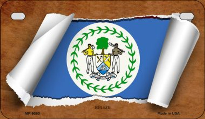 Belize Flag Scroll Wholesale Novelty Motorcycle Plate MP-9095