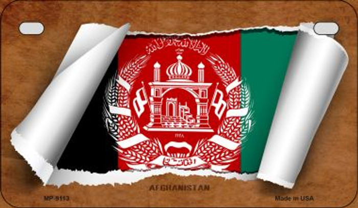 Afghanistan Flag Scroll Wholesale Novelty Motorcycle Plate MP-9113