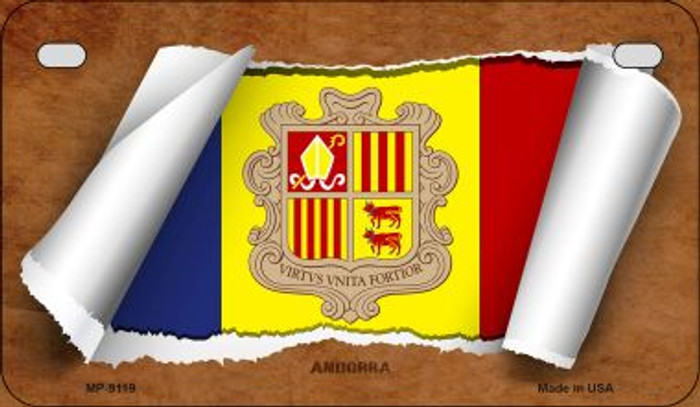 Andorra Flag Scroll Wholesale Novelty Motorcycle Plate MP-9119