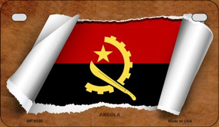 Angola Flag Scroll Wholesale Novelty Motorcycle Plate MP-9120