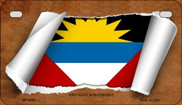 Antigua & Barbuda Flag Scroll Wholesale Novelty Motorcycle Plate MP-9125