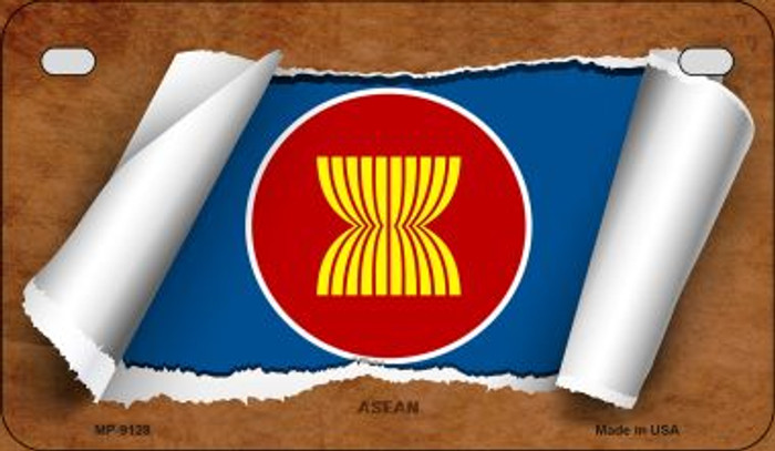 Asean Flag Scroll Wholesale Novelty Motorcycle Plate MP-9128