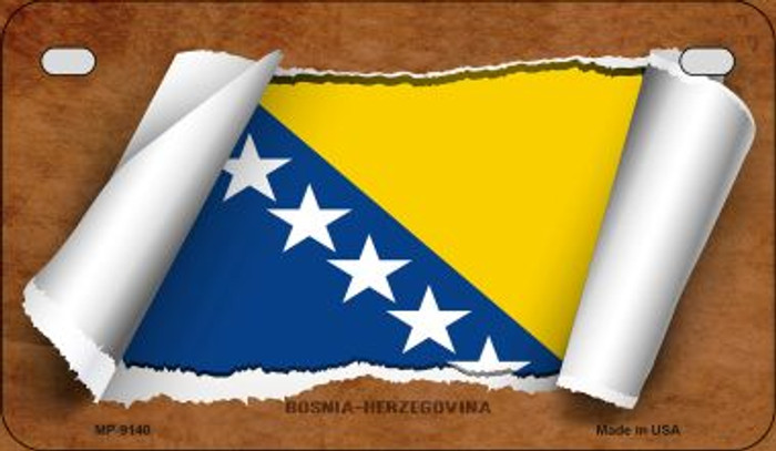 Bosnia-Herzegovina Flag Scroll Wholesale Novelty Motorcycle Plate MP-9140