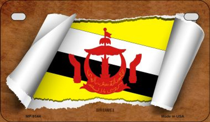 Brunei Flag Scroll Wholesale Novelty Motorcycle Plate MP-9144