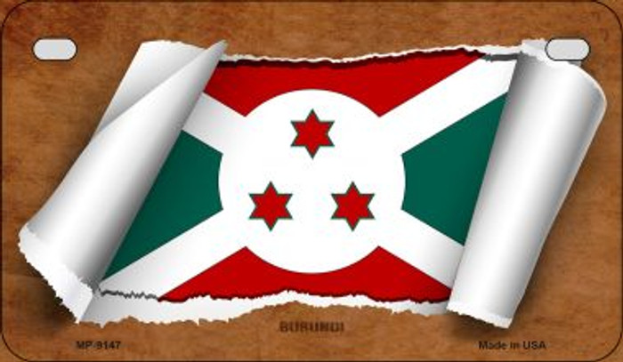 Burundi Flag Scroll Wholesale Novelty Motorcycle Plate MP-9147