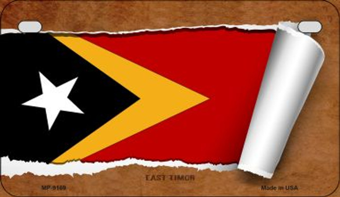 East Timor Flag Scroll Wholesale Novelty Motorcycle Plate MP-9169