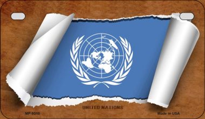 United Nations Flag Scroll Wholesale Novelty Motorcycle Plate MP-9310
