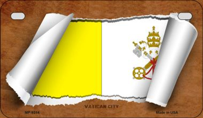 Vatican City Flag Scroll Wholesale Novelty Motorcycle Plate MP-9314
