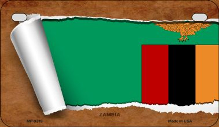 Zambia Flag Scroll Wholesale Novelty Motorcycle Plate MP-9319