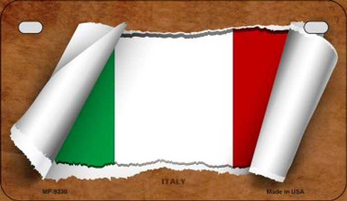 Italy Flag Scroll Wholesale Novelty Motorcycle Plate MP-9330