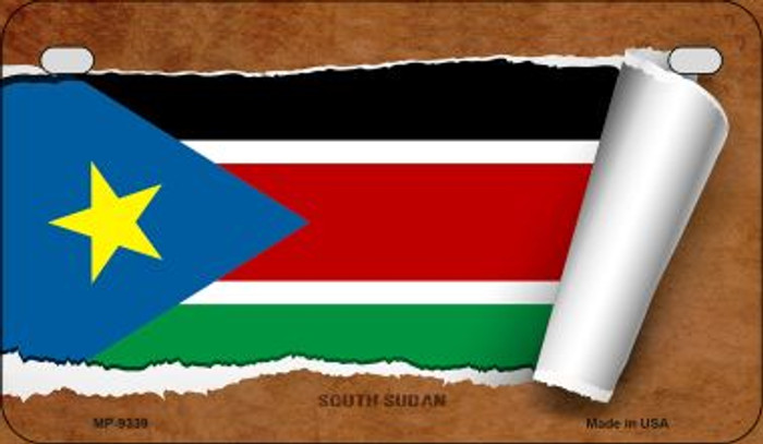 South Sudan Flag Scroll Wholesale Novelty Motorcycle Plate MP-9339