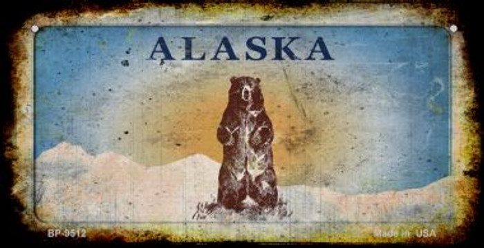 Alaska Bear Rusty Blank Background Wholesale Novelty Bicycle Plate BP-9512
