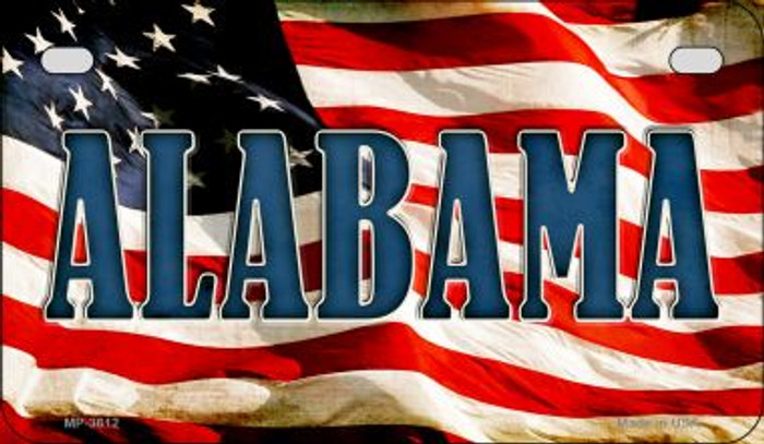 Alabama US Flag Wholesale Novelty Motorcycle Plate MP-3612