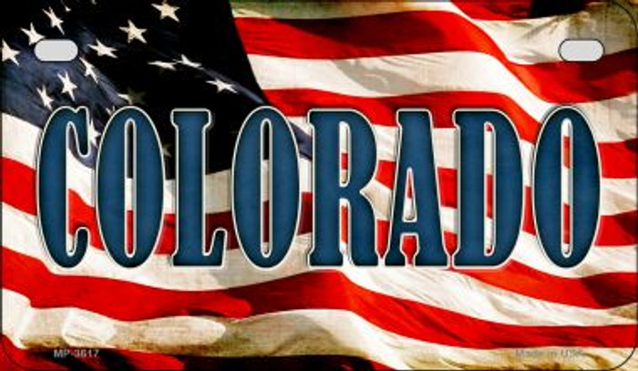 Colorado US Flag Wholesale Novelty Motorcycle Plate MP-3617