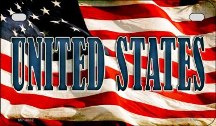United States US Flag Wholesale Novelty Motorcycle Plate MP-3662