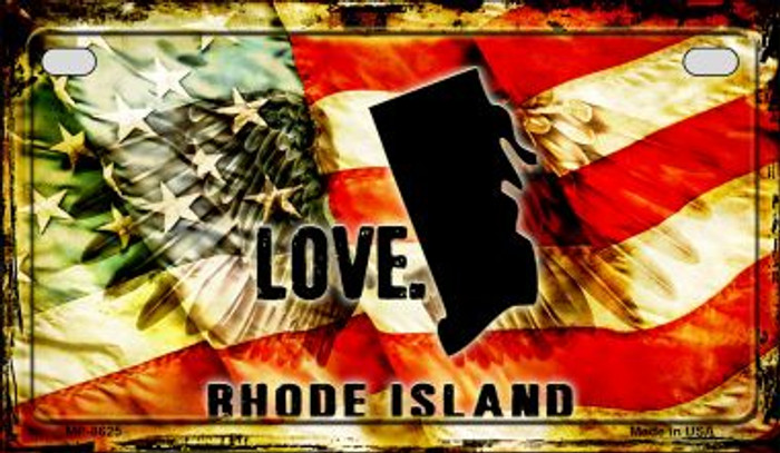 Rhode Island Love & Wings Wholesale Novelty Motorcycle Plate MP-8625