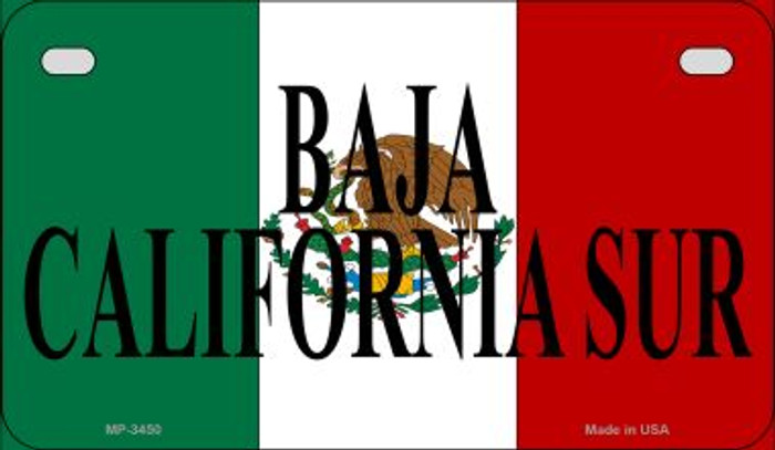 Baja California Sur Mexico Flag Wholesale Novelty Motorcycle Plate MP-3450