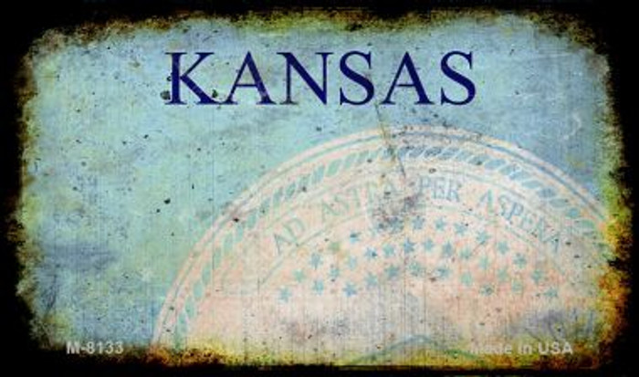 Kansas Rusty Blank Background Wholesale Aluminum Magnet M-8133