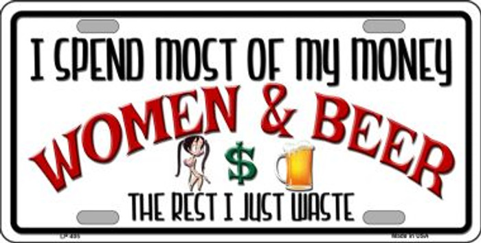 Money On Women And Beer Wholesale Metal Novelty License Plate LP-405